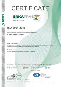 ERKA Pfahl Dekra Certificate 2019
