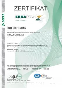 ERKA Pfahl Dekra Zertifikat 2019